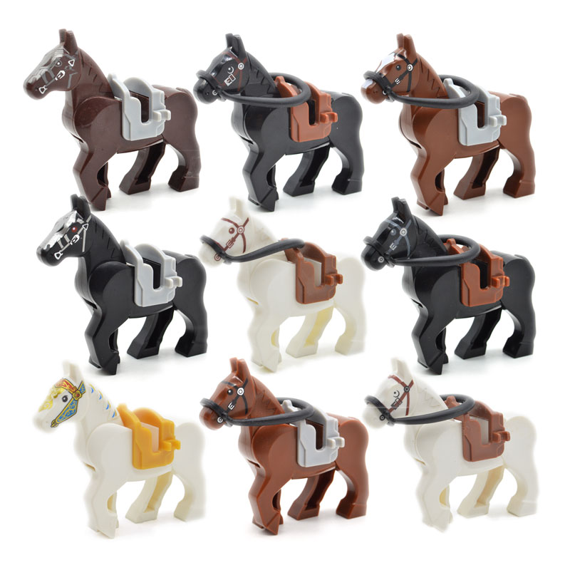 WW2 War Horses Black White Brown MOC Bricks Part Building Blocks Military Accessories Gifts Toys for Children Гражданская война в США