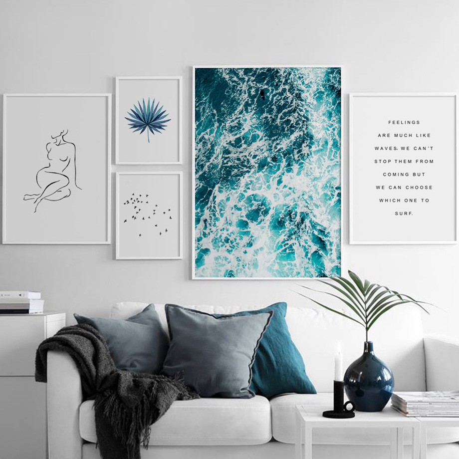 Sea Bird Leaves Line Body Art Print Quote Nordic Posters And Prints Wall Art Canvas Painting Wall Pictures For Living Room Decor Painting Calligraphy Aliexpress