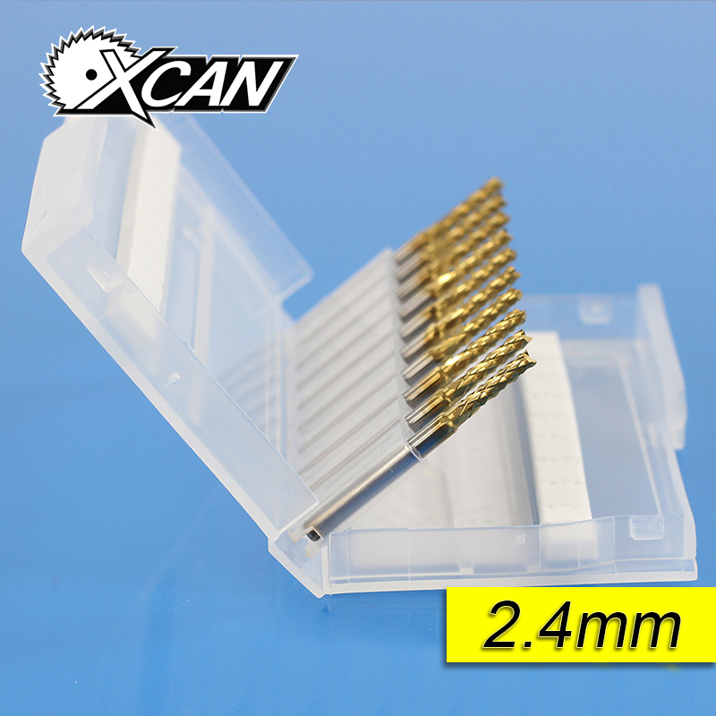 XCAN end Mill Carbide milling cutter tool router bits for wood cnc metal head groove Cutter PCB 2.4mm YMT003240 2pcs cnc carbide end mill tool 3d woodworking insert router bit tungsten cleaning bottom end milling cutter mdf pvc acrylic wood