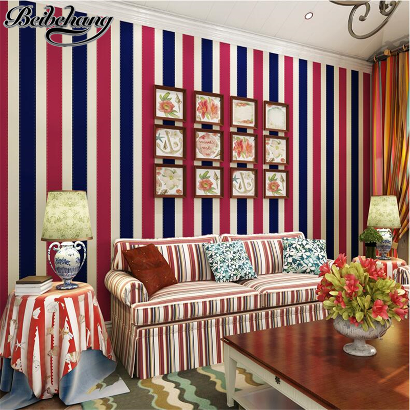 beibehang British wind vertical striped high - end imports of pure paper living room sofa background wallpaper Mediterranean beibehang British wind vertical striped high - end imports of pure paper living room sofa background wallpaper Mediterranean