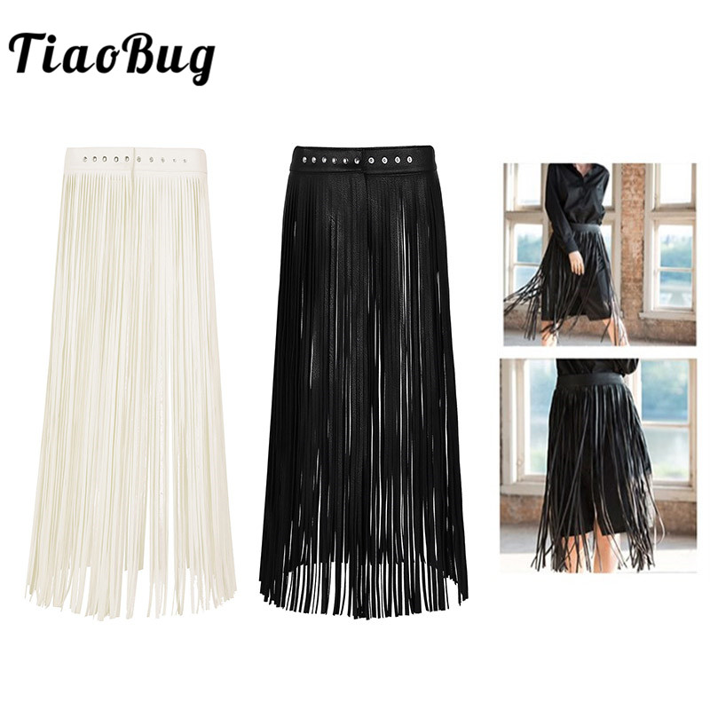 TiaoBug Fashion Ladies Faux Leather Hippy Boho Fringe Tassel Skirt Women Harness   Belt   Harajuku Waistband Punk Gothic Rave   Belt