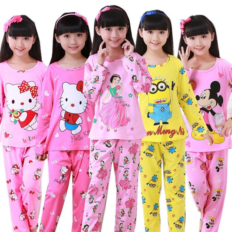 New Sale 2018 Autumn winter Baby Sleepwears Suits Lovely Gilr Pajamas Children Pyjamas Girls Cartoon Pijamas Kids Clothing set цены онлайн