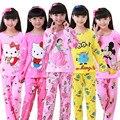 Nova Venda 2017 Outono & Spring Ternos Adorável Gilr Pijama Bebê Sleepwears Crianças Pijamas Meninas Dos Desenhos Animados Pijamas Crianças conjunto de Roupas