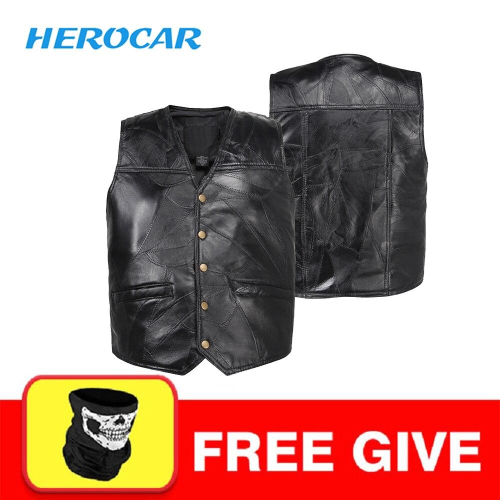 New Motorcycle Jacket Mens Genuine Leather Vest Punk Retro Classic Style Biker Club Casual Vest Moto