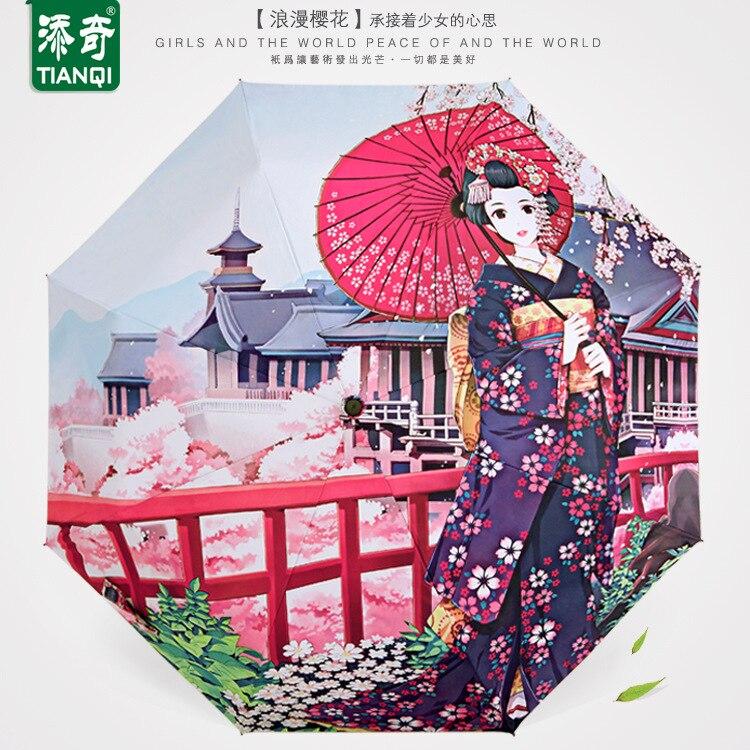 Ehrlich Regenschirme, Anime, Japanischen Original Design, Digitaldruck Fabrik, Direkter Sonnen Regenschirm, Regenschirm Falten Jade Weiß