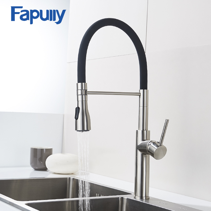 Fapully Brushed Nickel Kitchen Faucet 100% Solid Brass Single Handle Mixer Sink Tap 360 Degrees Swivel Black Kitchen Tap 301-33NFapully Brushed Nickel Kitchen Faucet 100% Solid Brass Single Handle Mixer Sink Tap 360 Degrees Swivel Black Kitchen Tap 301-33N