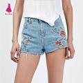 Stylish Flower Floral Pattern Embroidered Slim Casual Tassel Burr Denim Shorts Women Femme Street Zipper Mini Shorts New Trendy