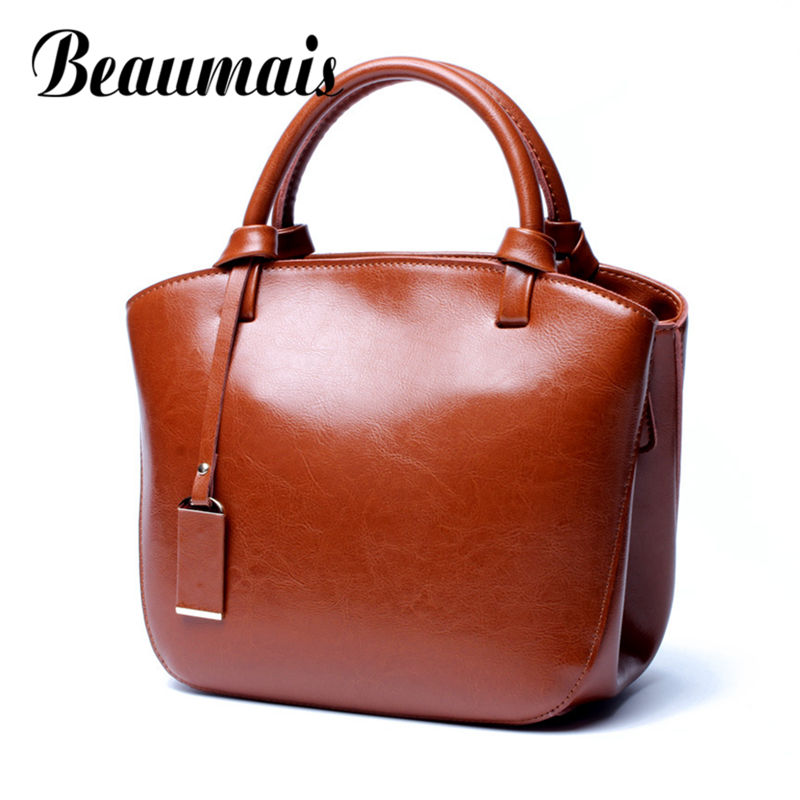 все цены на Beaumais 2017 New Vintage Genuine Leather Bags For Women All-match Shoulder Bag For Ladies Large Capacity Messenger Bag DF0137 онлайн