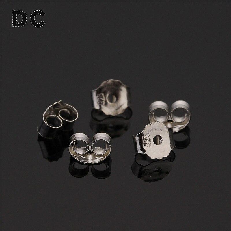 10pcs 925 Silver Earrings Back Findings Accessories Fit Stud Earrings Clasp Earring Stopper DIY Earring Fashion Jewelry Making