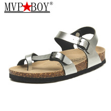 MVP BOY 2019 New Men Summer Fashion Cork Sandals Beach Gladiator Buckle Strap Sandals Shoes Flat Casual Man Beach sandals 35-45 недорого