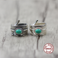 S925 Sterling Silver Ring In Popular Classic Style Feather Series Trendy Jewelry Inlaid Turquoise Gift Of