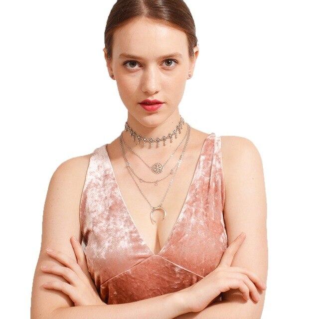 New Hot Mode Vintage En Métal Fleur Lune Cristal Collier Ras Du Cou Boho Multicouche Gland pendentif Collier de Charme De Bijoux De Mariage