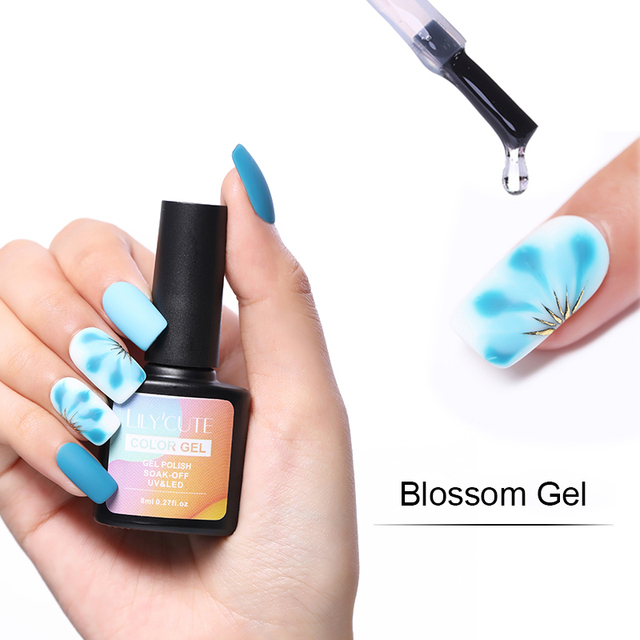 LILYCUTE 8ml Blossom Gel White Transparent Black Blossm Gel