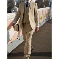 2017 Latest bruiloft men Beige Linen Suit Summer Beach Slim Fit 3 Piece Groom Tuxedo Custom Blazer Prom mens suits Masculino