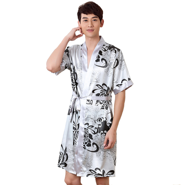 0747491e2 Hot Sale Printed Chinese Men's Satin Robe Novelty Floral Kimono Yukata Gown  Summer Lounge Sleepwear Home