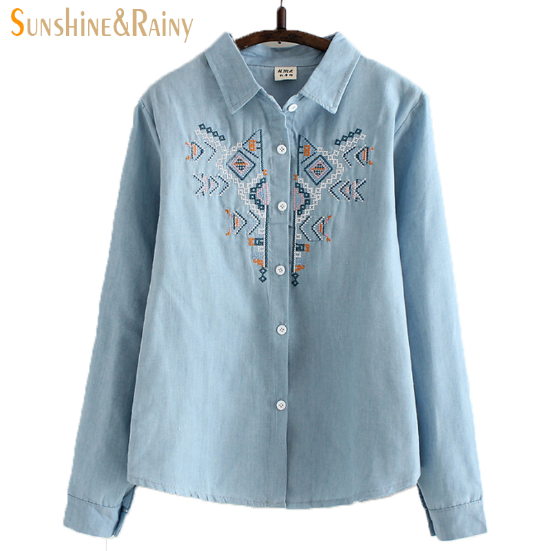 0bd0ba669de autumn spring geometric embroidered shirt women funny design oblique women  blouses jean shirt ladies COTTON shirts OL tops