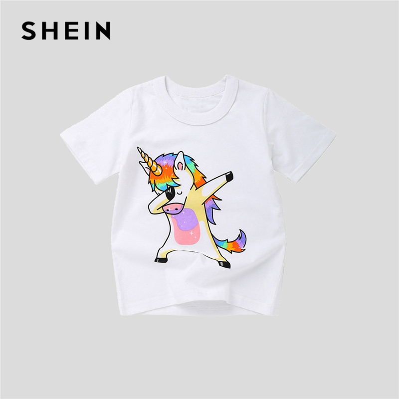 SHEIN White Toddler Animal Print Casual Cute Boys Kids T Shirt Girls Tops 2019 Summer Short Sleeve Girls Shirts Cartoon Tee color block short sleeve t shirt with pocket