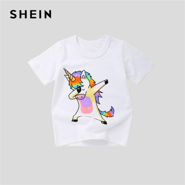 a9a0075882 SHEIN White Toddler Animal Print Casual Cute Boys Kids T Shirt Girls Tops  2019 Summer Short Sleeve Girls Shirts Cartoon Tee