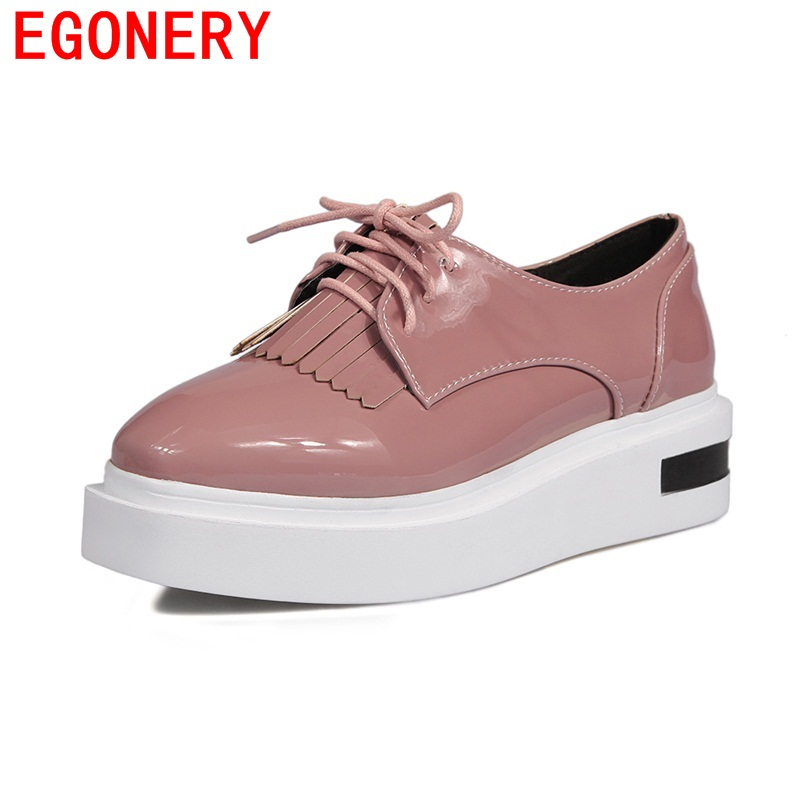 EGONERY spring new style women leisure shoes pumps 5 cm heel woman round toe lace shoes patent leather 3 color dress foot wear egonery new sweet lady round toe faux leather slip air spring dress women pumps heels shoes plus size us 12