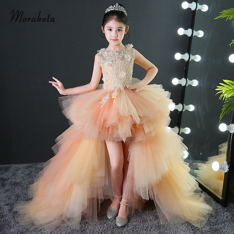Gold Tiered Tulle High Low Girls Pageant Dresses 2019 Sleeveless Short Front Long Back Flower Girl Dresses With Train