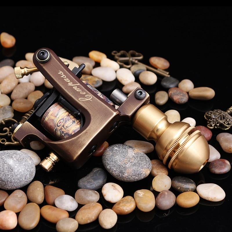 Machine de tatouage faite main professionnelle 10 bobines d'enveloppe pistolet de tatouage fait sur commande de cadre de cuivre pour des fournitures de tatouage de Shader ou de revêtement - 4