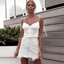 Elegant Tie Up Shoulder Straps Camisoles Women Summer Button Crop Top Streetwear Tube Sexy White Bustier Feamle Tank Tops