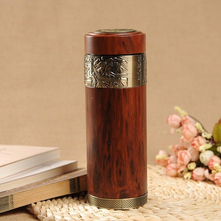 330 ml Yixing grain de bois véritable Zisha bouteille d'isolation intérieure haute qualité santé thermos en céramique flacons sous vide livraison gratuite