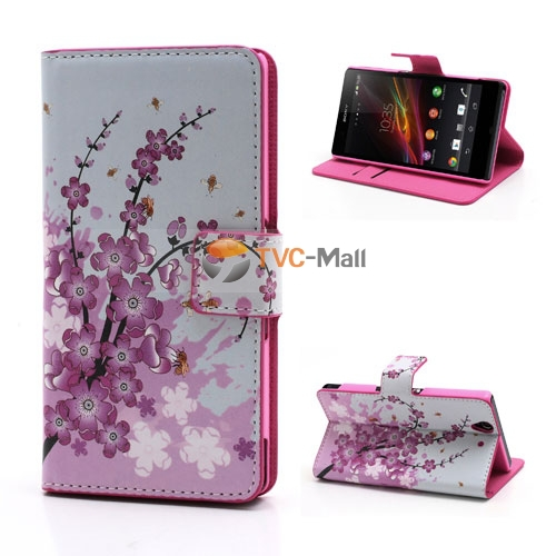 Pink Plum Magnetic Leather Wallet Handbag Book Cover Case For Flip Sony Xperia Z L36h Yuga C6603 C6602 Mobile phone cases