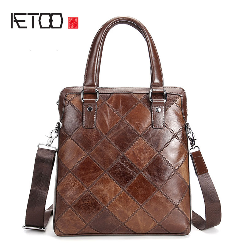 AETOO Men's first layer of leather hand-made vertical section of business briefcase fashion shoulder bag original hand made retro shoulder bag new vertical section of the small backpack head layer of leather sculpture leather casual