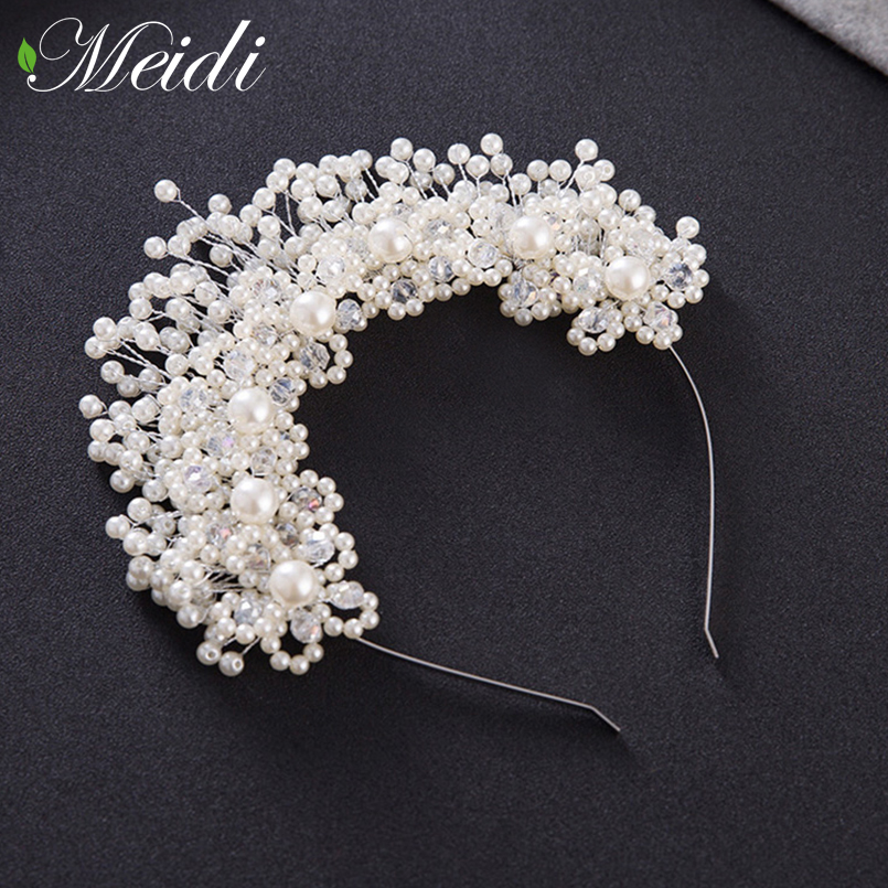 MEIDI Tiaras Crown Alloy Bride Pearl Hairbands for Wedding Hair Hoop Jewelry Women Wedding Tiaras Headband Pearl Headdress mi happiness red bride wedding hair tiaras gorgeous hair jewelry hanfu costume hair accessory
