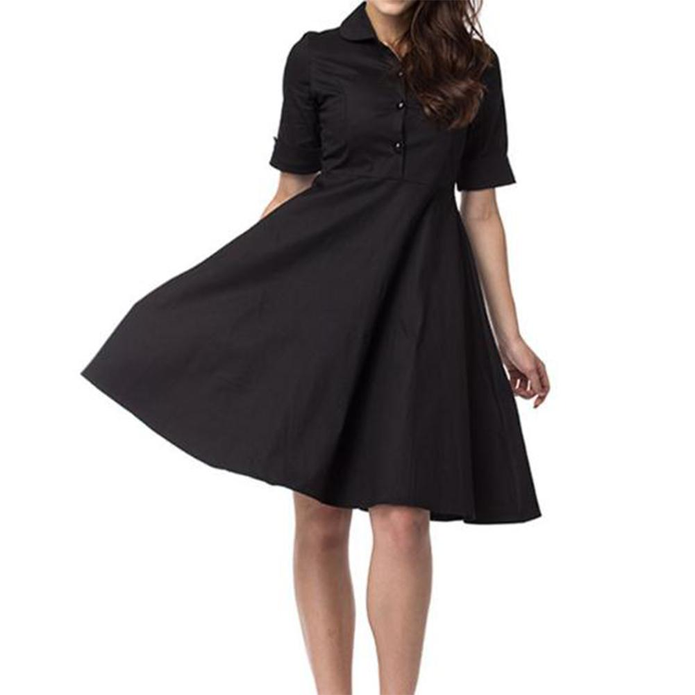 Yfashion Women Retro Large Hem Lapel Collar Solid Color Fashion Dress in Dresses from Women 39 s Clothing