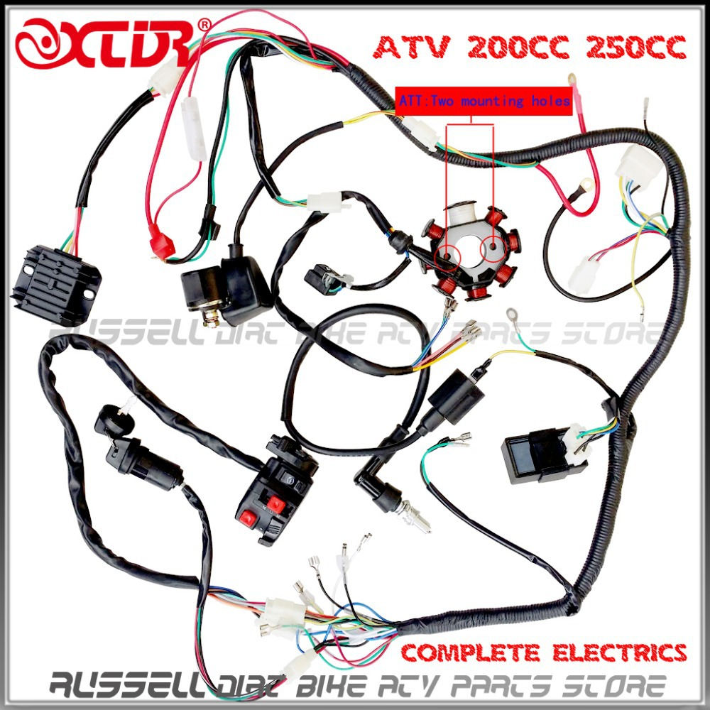 150cc Wiring Harness Diagram Data Dune Buggy Basic Wire Loom 200cc 250cc Ignition Coilcdi Engine Startor Caterpillar