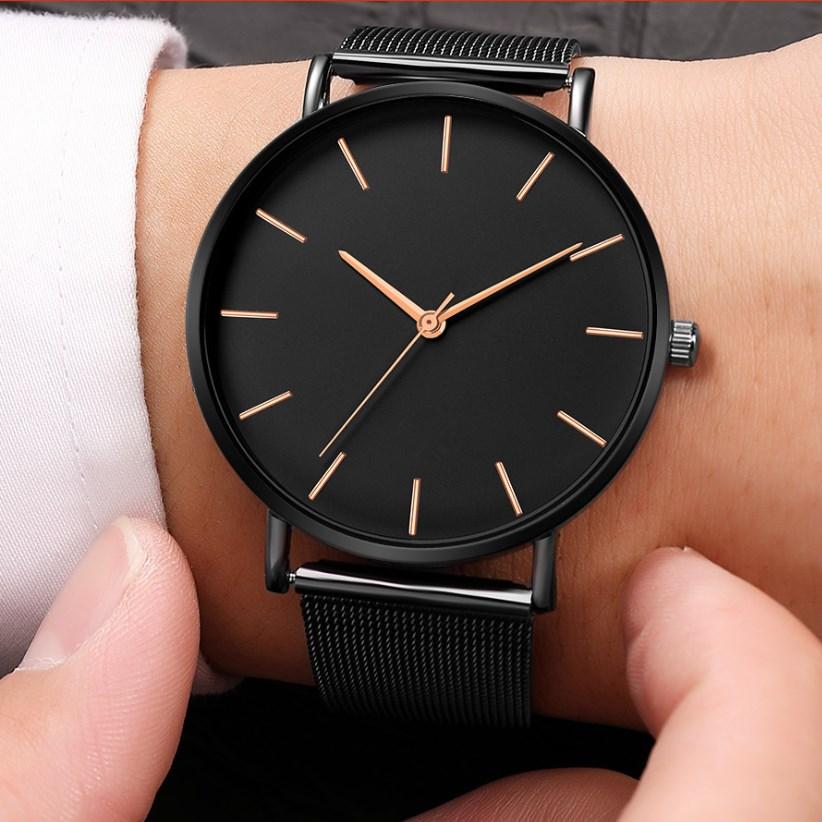 Black Quartz Watch Women Mesh Stainless Steel Bracelet Casual Wrist Watch for Woman Hot Montre Femme Modern Fashion Reloj Mujer