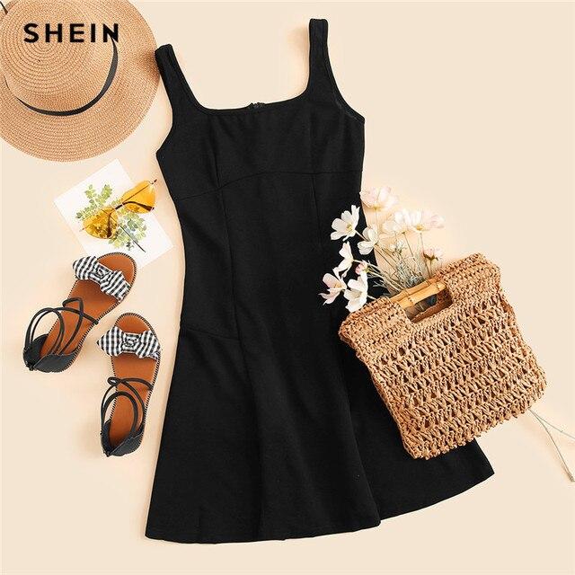 SHEIN Black Fit And Flare Solid Dress Elegant Straps Sleeveless Plain A Line Dresses Women Summer Autumn Zipper Short Dress 2