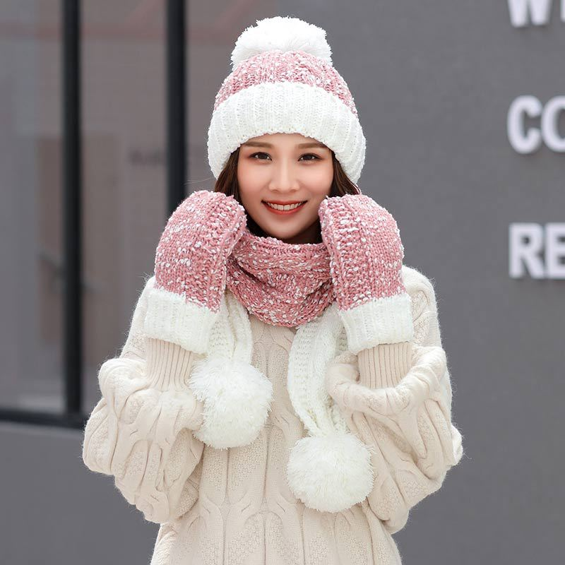 2019 Winter Knitted Hats Scarf Set For Women Winter Warm Pom Pom Beanie Hat Scarves Gloves Female Cap Girl Patchwork Thick Hat