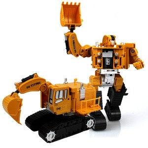 Image 2 - 2 in 1 Legierung Engineering Transformation Roboter Auto Verformung Spielzeug Metall Legierung Bau Fahrzeug Lkw Montage Roboter Für Kid