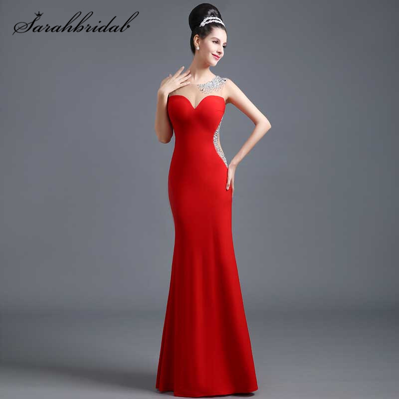 Sexig Charmig Aftonklänning Red Jersey Stoff Beading Golvlängd Handwork Sheer Backless Mermaid Party Gowns Ärmlös SD308