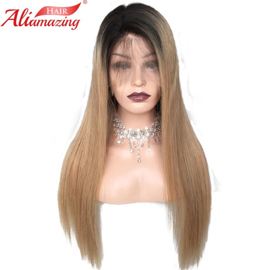 Aliamazing волос Синтетические волосы на кружеве парик Ombre Цвет 1B/27 Бразильский шелковистые прямые волосы 130% плотность человеческих волос парик...