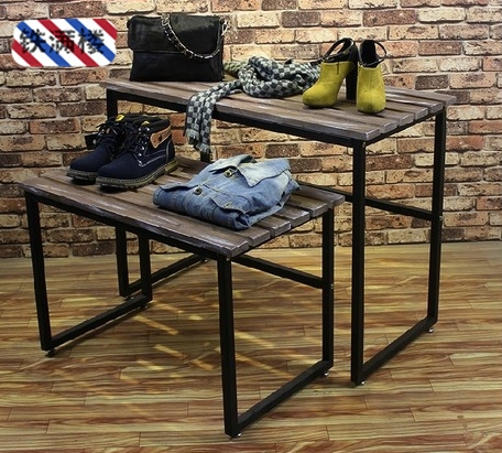 Iron Clothing Rack Display Window Design Showcase Wood Water Table N Island Shelf Hangers