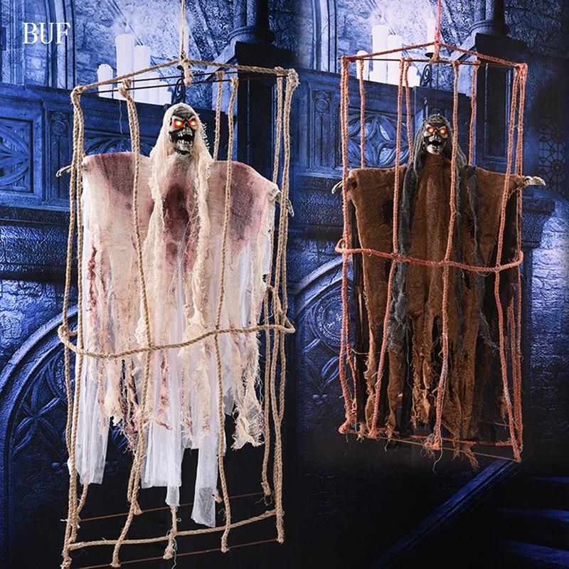 Grande taille Halloween fête décoration suspendue Cage de chanvre fantôme créatif Halloween fête accessoires décoratifs fantômes avec voix de cri
