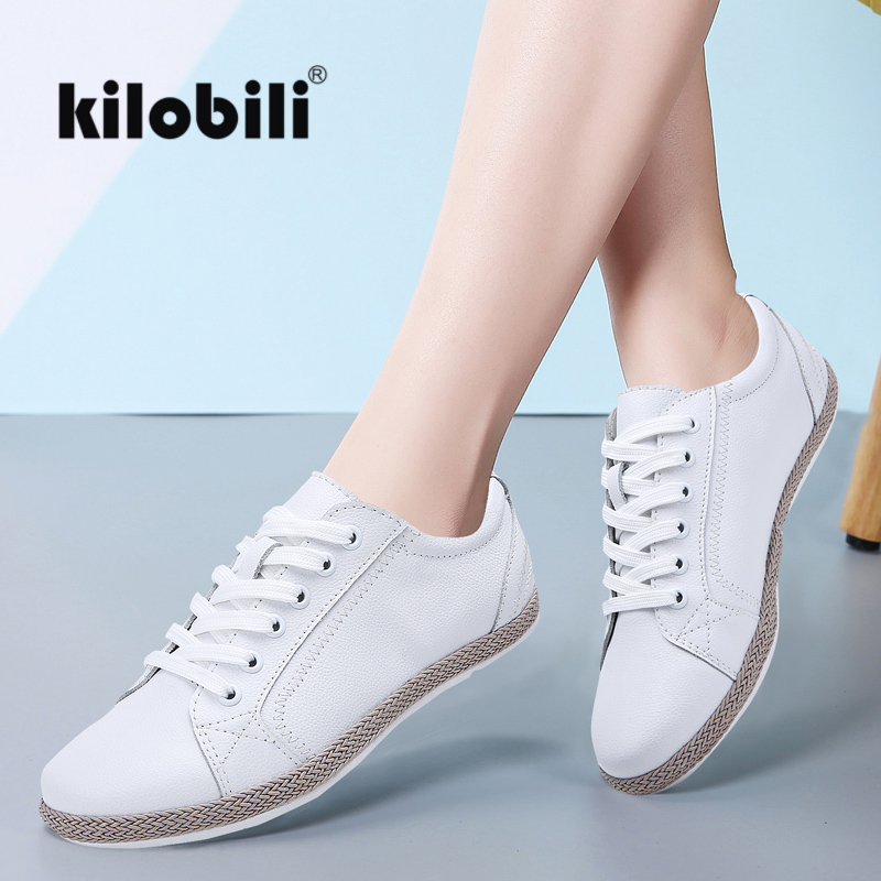 kilobili 2019 Spring women flats shoes women sneakers   leather   lace up boat shoes round toe flats moccasins oxford for women