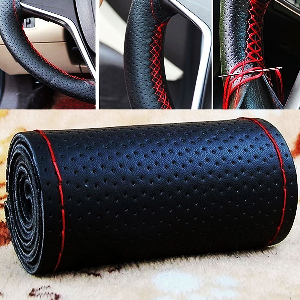 DIY Breathable Car Steering Wheel Cover Handlebar Protector Auto DIY Wear-resistant Decoration Interior accessories Pakistan
