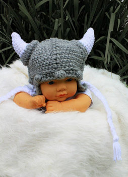 Toddler viking hat baby viking beanie hat. viking photo prop Grey Viking Hat with earflaps and ties crochet halloween hat фото