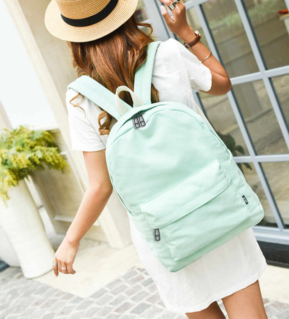 OCARDIAN Bag Women Girls sthdent Canvas Preppy Style Shoulder Bookbags Pure color Flowers Bag School Travel Backpack  a9