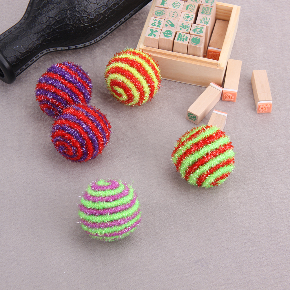 Wholesale 10pcs Colorful Cat Ball Toys Pet Products Elastic Rope Funny Interactive Cat Scratch Balls