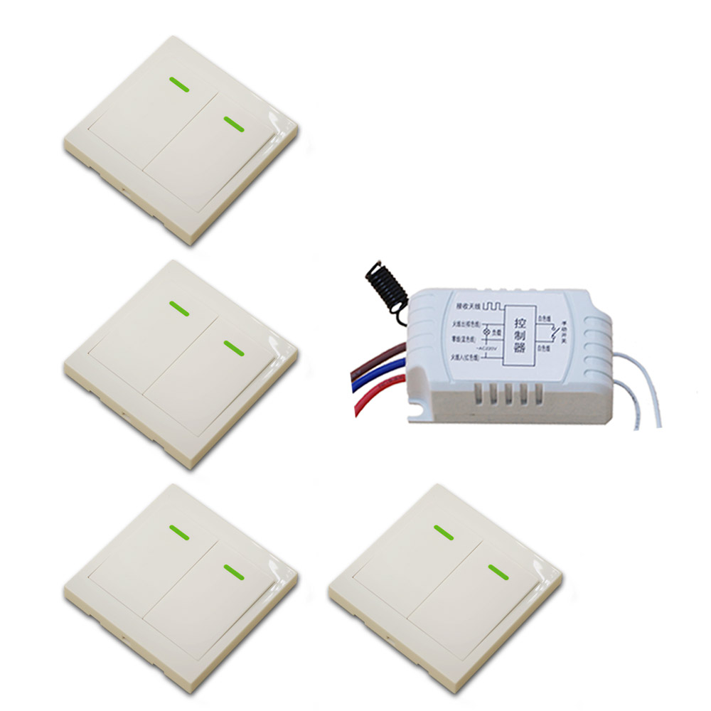 AC220V Wireless Remote Control Switch RF Remote and Manual Switch Receiver & Wall Transmitter 315Mhz/433.92Mhz ac 220v rf wireless remote control switch 2 button wall transmitter receiver