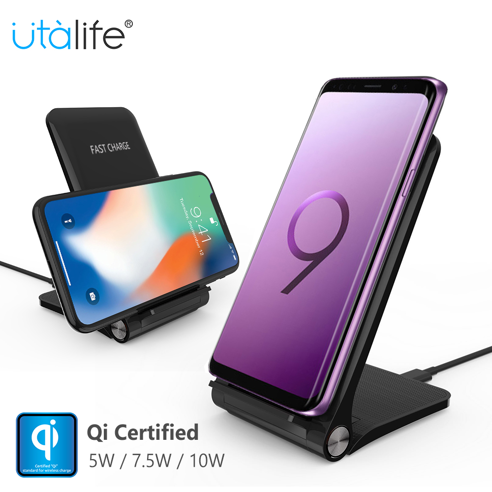 Utalife Qi Wireless Charger for iPhone XS 8 X 10W Quick Charging for Samsung Galaxy S9 Note 8 USB Fast Wireless Charge k8 qi wireless charging transmitter pad for nokia lumia 820 920 samsung galaxy s3 i9300 note 2