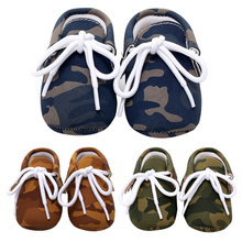 b91a4c0b4 Baby First Walker Infant Boys Girls Anti Slip Soft Sole Lace-up Camouflage  Leather Shoes