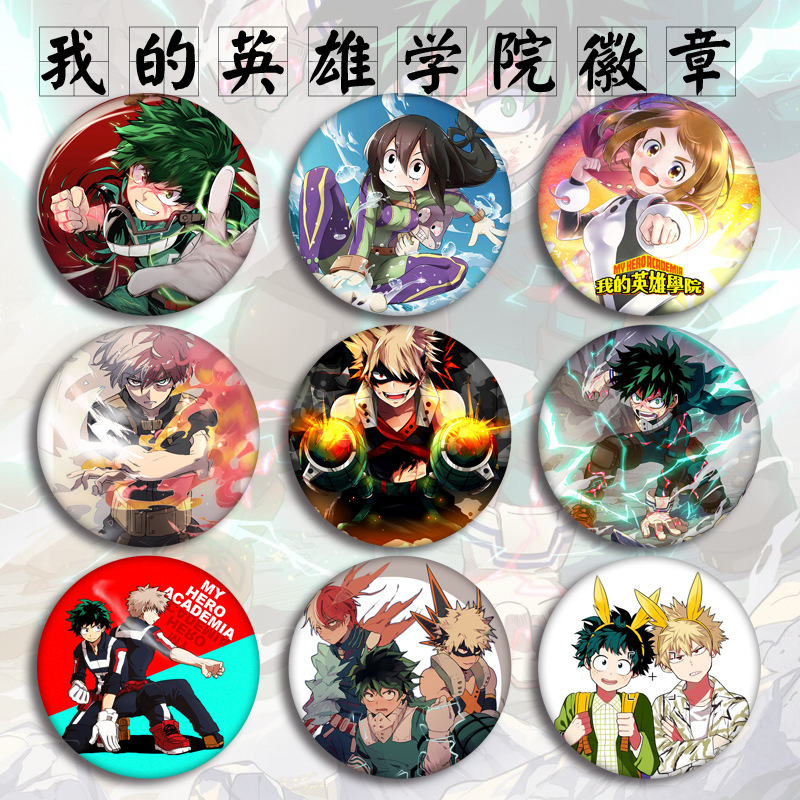 1 Pc Anime My Hero Academia Figure Model Brooch Pins Broches Round Tinplate Badge For Fans Gift Children Toy