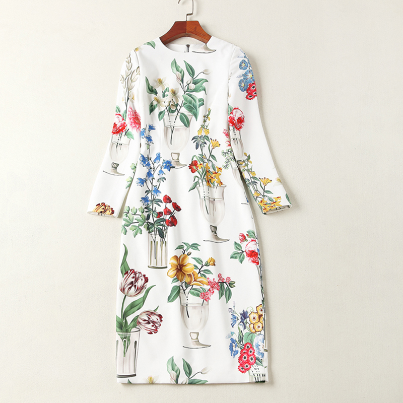 WVLDDBL flowers print white dress bodycon dress with long sleeves 181202